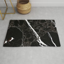 Abstract black white gray modern marble Rug