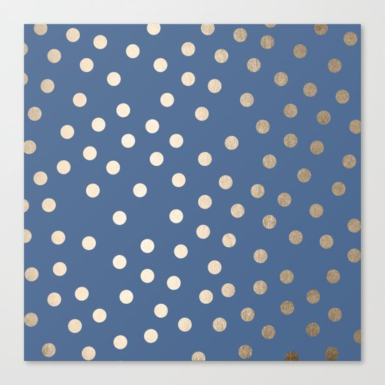 Simply Dots White Gold Sands on Aegean Blue Canvas Print