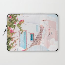 Santorini Greece Mamma Mia Pink House Travel Photography in hd. Laptop Sleeve