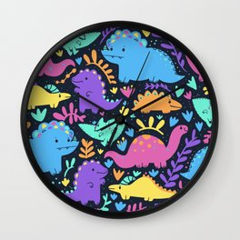 Colorful Dino pattern Wall Clock