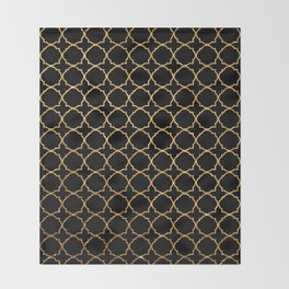 Elegant black faux gold glitter chic quatrefoil vector illustration Throw Blanket