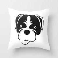 boxer Throw Pillows featuring Boxer by anabelledubois