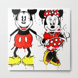 Mickey Minnie Mashed Metal Print