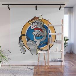 Cartoon vintage microphone Wall Mural