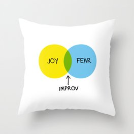 The Venn of Improv (Yellow/Blue) Throw Pillow