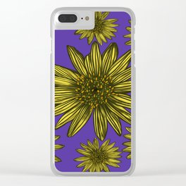 Contrasting Daisy Pop Yellow Daisies on Purple Clear iPhone Case