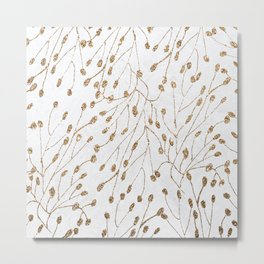 Modern chic white watercolor gold glitter floral Metal Print
