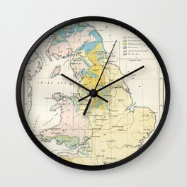 Vintage Map of the Coal Fields of Great Britain Wall Clock