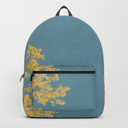 Mustard and Gold Leaves on Teal Blue Backpack