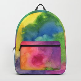 Bright Rainbow Watercolor Abstract Backpack
