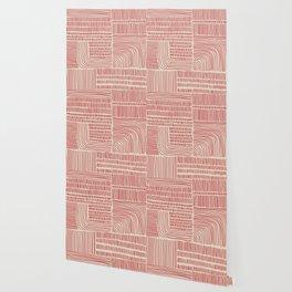 Digital Stitches whole beige + red Wallpaper