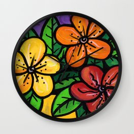 Whimsical Impatien Flowers Wall Clock