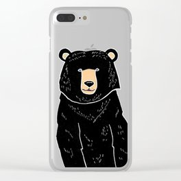 Friendly Black Bear Clear iPhone Case
