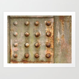 background with steel rivets Art Print