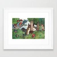 studio ghibli Framed Art Prints featuring Studio Ghibli Crossover by malipi
