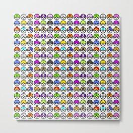 Pokeballs Pixel Metal Print