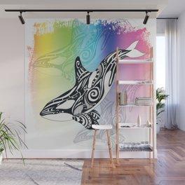 Orca Whale Rainbow Tribal Tattoo Art Wall Mural