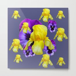 COLLAGE OF CHARCOAL GREY PURPLE PANSIES YELLOW IRIS Metal Print