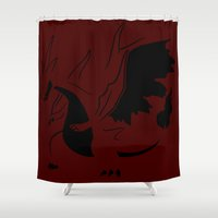 charizard Shower Curtains featuring Charizard Mega Y by Ruo7in