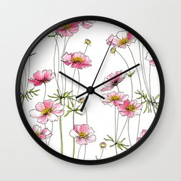 Pink Cosmos Flowers Wall Clock