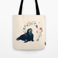 walrus Tote Bags featuring Walrus. by Urška Hočevar