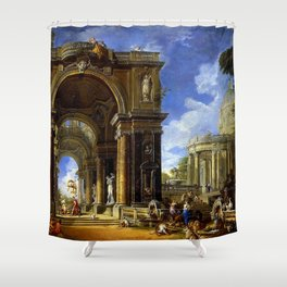 Giovanni Paolo Pannini Masterpiece: Circe Entertaining Odysseaus at a Banquet Shower Curtain