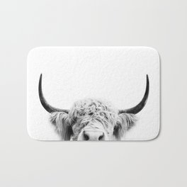 Peeking Cow BW Bath Mat