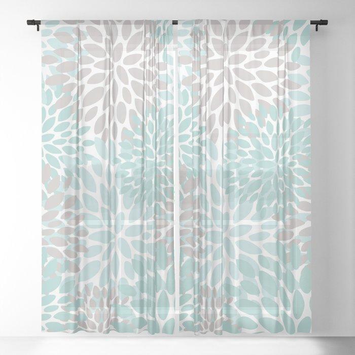 Fl Pattern Teal Aqua Turquoise Gray Sheer Curtain By Meganmorrisart
