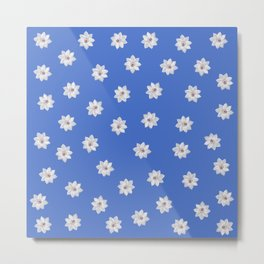 Blue and White Flowers Metal Print