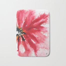 Crimson Red Abstract Flower Watercolor Bath Mat