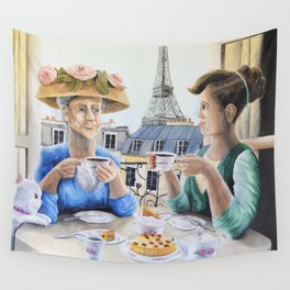 Tea Time in Paris Wall Tapestry