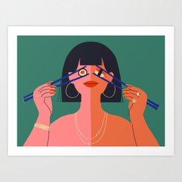 Sushi & Nigiri Babe Art Print