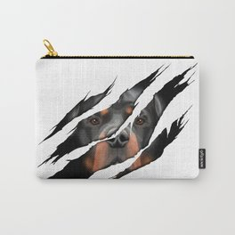 Rottweiler 3D torn effect illustration Carry-All Pouch