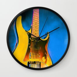 Guitar Painting, Pop Art Rock and Roll Wall Clock