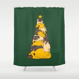 Christmas Tree Pugs Shower Curtain