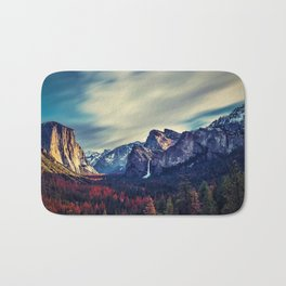 Yosemite Valley and Waterfall in Autumn Bath Mat