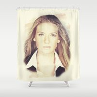 fringe Shower Curtains featuring FRINGE - OLIVIA by theseed30