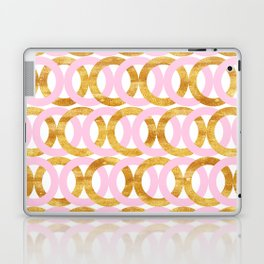 Chic Gold and Pink Circles Pattern Laptop & iPad Skin