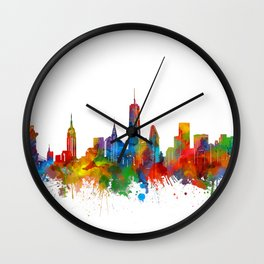 new york skyline watercolor Wall Clock