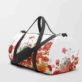Vintage & Shabby Chic - Red Summer Flower Garden Duffle Bag