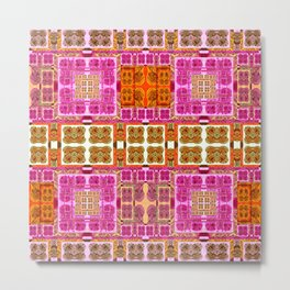 Vintage Geometric Abstract Quilt Pink and Mustard Metal Print