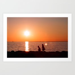 Chasing the Sun. Childhood at the Seaside Art Print