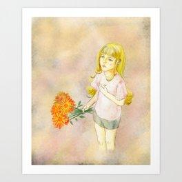 Girl with calendula Art Print