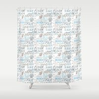surf Shower Curtains featuring Surf by Zen and Chic