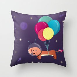 Galaxy Dog with balloons Throw Pillow