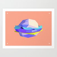 hamburger Art Prints featuring Hamburger  by Parasmo