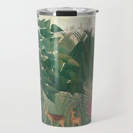 The Waterfall by Henri Rousseau 1910 // Jungle Waterfall Deer Indigenous People Flowers Plant Scene Travel Mug