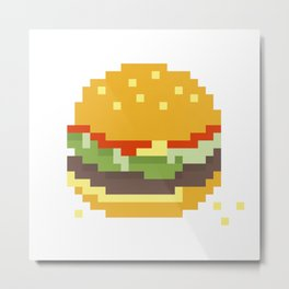 Pixel Burger Metal Print