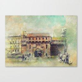 Cracow Barbican art Canvas Print