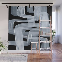 Ghostly Minimalist Abstract Painting Black And White Maze Brush Strokes Wall Mural